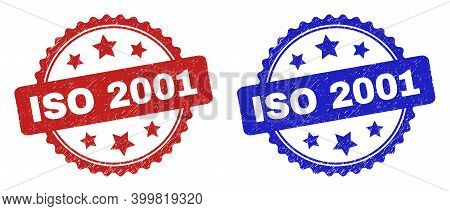 Rosette Iso 2001 Stamps. Flat Vector Grunge Stamps With Iso 2001 Caption Inside Rosette Shape With S