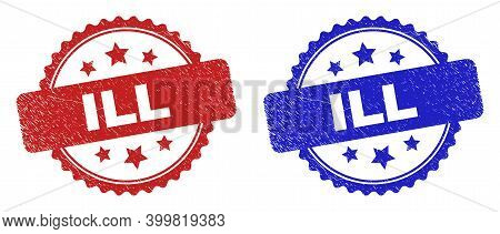 Rosette Ill Watermarks. Flat Vector Scratched Stamps With Ill Text Inside Rosette Shape With Stars,