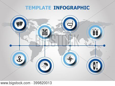 Infographic Design With Diving Icons, Stock Vector