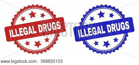 Rosette Illegal Drugs Seal Stamps. Flat Vector Distress Seal Stamps With Illegal Drugs Message Insid