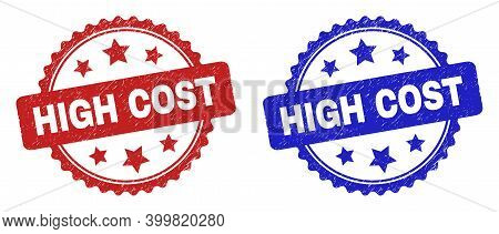 Rosette High Cost Watermarks. Flat Vector Scratched Watermarks With High Cost Phrase Inside Rosette