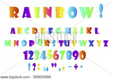 Retro Doodle Font With Multicolored Letters Punctuation Marks. Multicolored Letters And Numbers. Sto