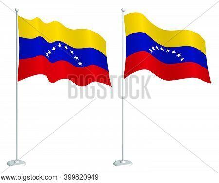 Venezuela Flag On Flagpole Waving In Wind. Holiday Design Element. Checkpoint For Map Symbols. Isola