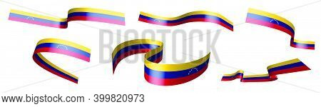 Set Of Holiday Ribbons. Venezuela Flag Waving In Wind. Separation Into Lower And Upper Layers. Desig