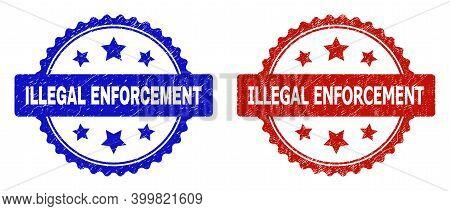 Rosette Illegal Enforcement Watermarks. Flat Vector Scratched Watermarks With Illegal Enforcement Ti