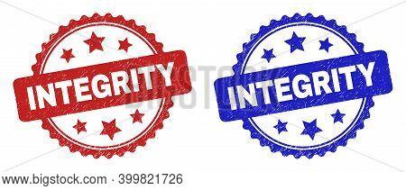 Rosette Integrity Watermarks. Flat Vector Distress Watermarks With Integrity Caption Inside Rosette
