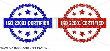 Rosette Iso 22001 Certified Seal Stamps. Flat Vector Distress Seal Stamps With Iso 22001 Certified T