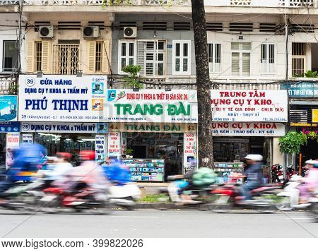 Ho Chi Minh City, Vietnam - July 25, 2020: Motorbikes Passing At Speed Down D. Tran Hung Dao, One Of