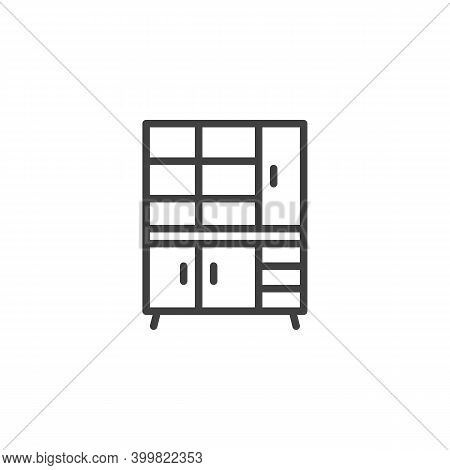 Closet Furniture Line Icon. Linear Style Sign For Mobile Concept And Web Design. Cupboard Wardrobe O