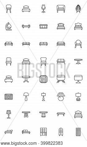 Interior Furniture Line Icons Set. Linear Style Symbols Collection, Outline Signs Pack. Vector Graph
