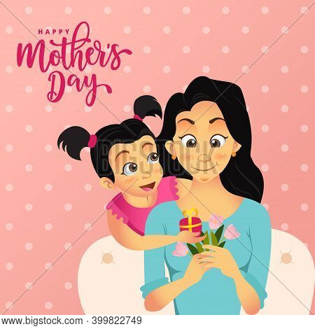 Happy Mother's Day. Cute Cartoon Little Girl Giving Present To Her Mother