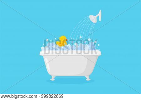 Bathtub With Rubber Duck With Suds And Shower. Yellow Duck In Bubbles And Foam Isolated In Blue Back