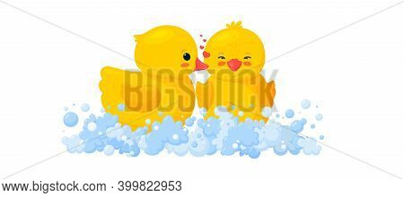 Rubber Duck Kissing Another Duck. Yellow Toys In Foam. Vector Illustration In Cartoon Style