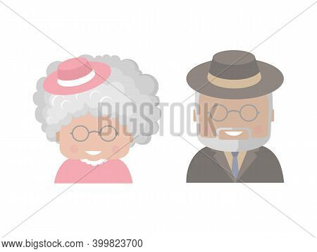 An Elderly Man And Woman, Grandfather And Grandmother, Retired.colorful Smiling Portraits, Icons Or