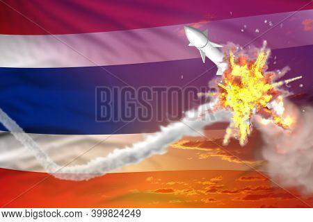 Thailand Intercepted Nuclear Warhead, Modern Antirocket Destroys Enemy Missile Concept, Military Ind