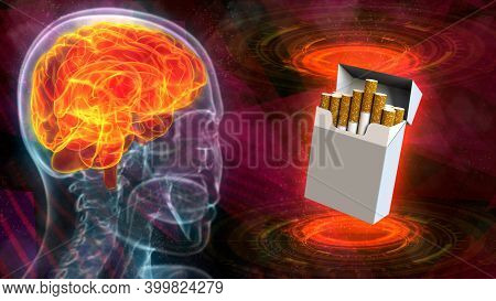Rontgen Human Head Image With Highlighted Brain And Cigarette Pack - Brain Affected By Nicotine Conc