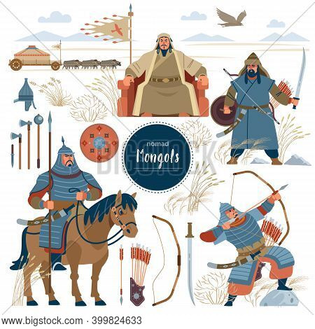 The Mongols. Set Mongol Nomad Warriors Flat Characters. Warriors, Khan, Sword, Armor, Genghis, Stepp
