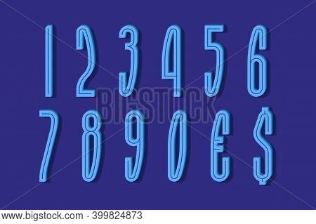 Volumetric High Blue Numbers And Currency Signs With Middle Groove. 3d Display Font.