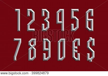 Volumetric Prismatic Numbers And Currency Signs. Metallic 3d Display Font.