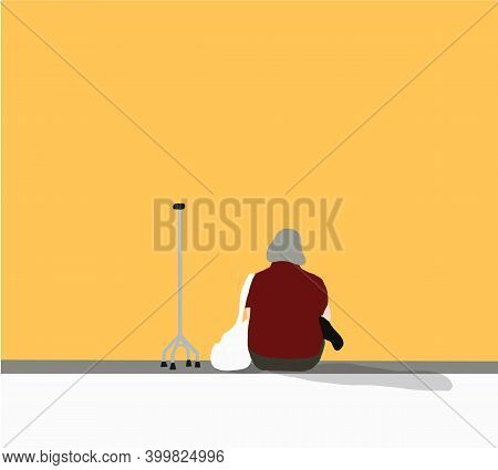 Old Woman Sitting With Walker On Street. The Elderly Lady Is Contemplating Alone Concept Of Being Al