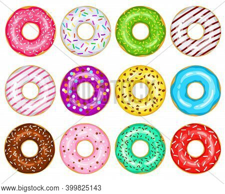 Donuts Vector Big Set. Green, White, Red, Chocolate, Pink, Yellow, Green, Blue, Purple, Mint Donuts