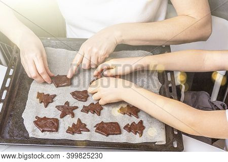 Cooking Christmas And  New Year Chocolate Cookies Or Gingerbread. Traditional Festive Baking, Bake W