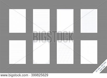 Set Of A5 Sheets With A Different Pattern Checkered, Narrow And Wide Lines, Dots, Empty With A Frame
