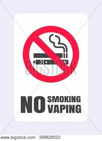 No Smoking No Vaping Sign. Forbidden Sign Icon Isolated On White Background Vector Illustration. Cig