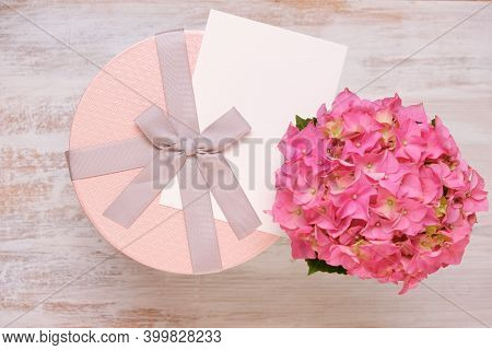 Holiday Greeting Card. Birthday Blank Postcard.pink Box With Bow , Card And Pink Hydrangea Flower On