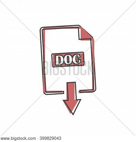 Doc Icon. Downloads Doc Document Cartoon Style On White Isolated Background.