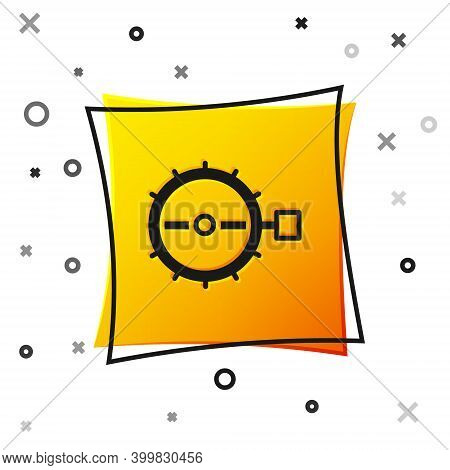 Black Trap Hunting Icon Isolated On White Background. Yellow Square Button. Vector
