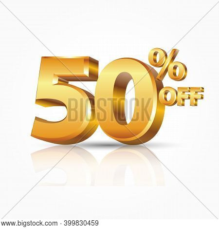3d Vector Shiny Gold 50 Percent Text With Reflection Isolated On White Background. Vector Illustrati