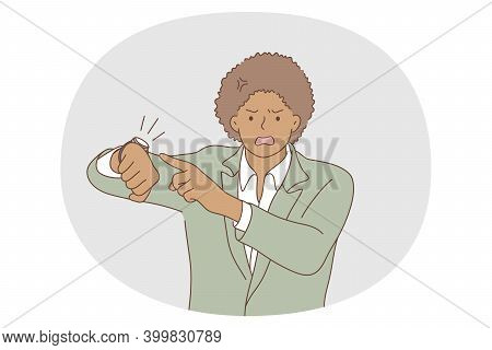 Time Management, Anger, Deadline Concept. Young Angry Black Businessman Office Worker Standing And P