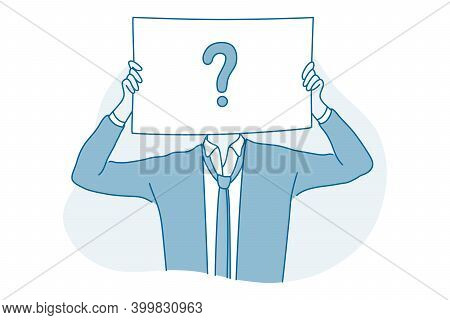 Frustration, Doubt, Question Concept. Young Businessman Office Worker Cartoon Character Standing And
