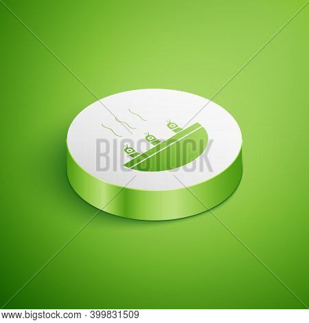 Isometric Soup With Shrimps Icon Isolated On Green Background. Tom Yum Kung Soup. White Circle Butto