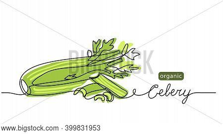 Celery Sticks, Stalks, Green Leaf Vector Sketch Illustration For Background, Label Design. One Line