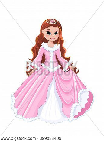 Little Girl In A Pink Dress On A White Background. Princess With A Diadem In Her Hair.