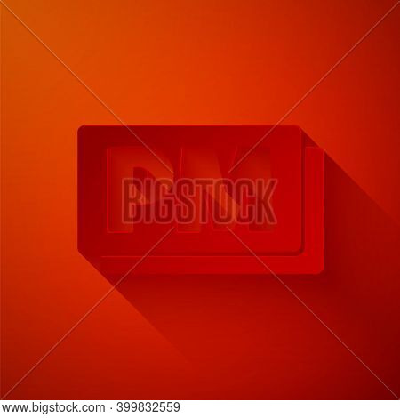 Paper Cut Clock Pm Icon Isolated On Red Background. Time Symbol. Paper Art Style. Vector