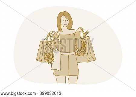 Shopping, Fashion, Customer Concept. Young Positive Woman Cartoon Character Standing With Shopping B