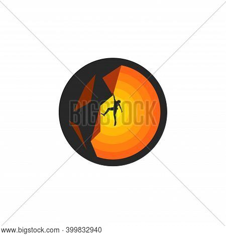 Silhouette Of A Climber Hanging On A Rock On One Arm Solo Climbing Athlete At Sunset, Mountaineering