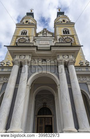 Brixen, Italy - October 5, 2020: Exterior Of The Dom Cathedral Church Of Brixen With Two Towers.