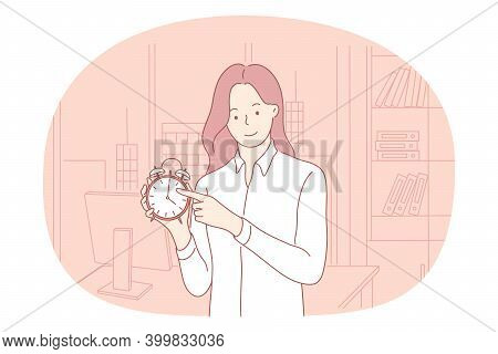 Time Management, Deadline, Punctuality Concept. Young Smiling Woman Office Worker Standing And Point