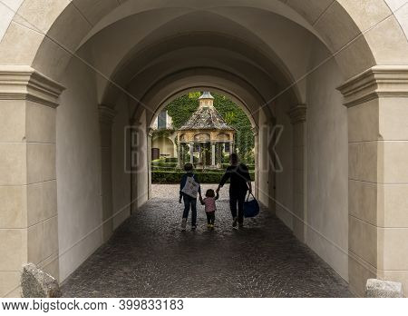 Brixen, Italy - October 9, 2020: Gate With Garden And Arbor In The Monastery Of Abbazia Di Novacella