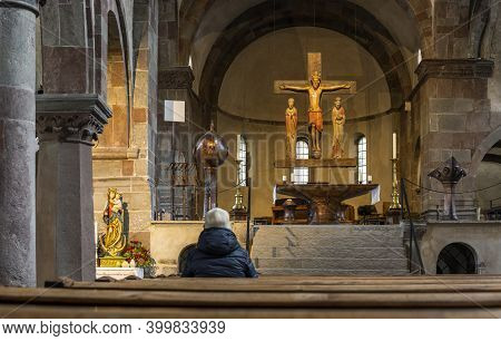 Innichen, Italy - October 4, 2020: Intirior Of The Stiftskirche, Church, Of Innichen With Old Wooden