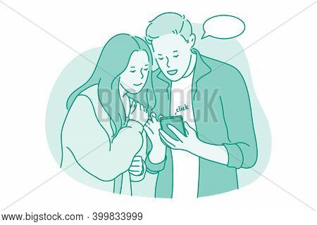 Online Communication, Smartphone, Chatting Concept. Young Couple Standing Looking At Smartphone Toge
