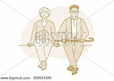 Senior Elderly Couple Living Happy Active Lifestyle Concept. Happy Mature Aged Couple Pensioners Wom