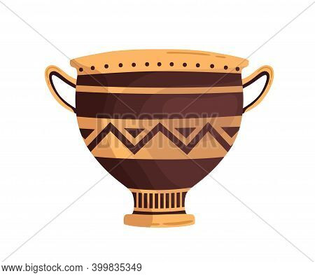 Ancient Ornamented Vase With Handles. Hellenic Clay Amphora. Greek Pottery Decorated With Ornament.