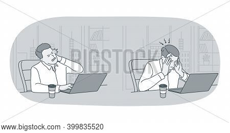 Stress, Overwork, Overload Concept. Unhappy Depressed Stressed Young Man Office Worker Sitting With