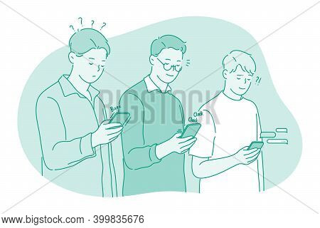Smartphone, Online Communication, Chat Concept. Young Men Standing With Smartphone In Hands, Chattin