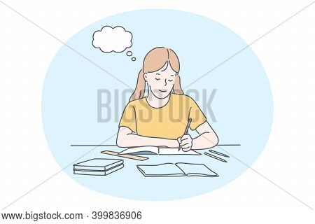 Success In Studying, Excellent School Pupils Concept. Smiling School Girl Cartoon Character Sitting